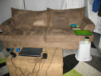 Large sofa set: couch, loveseat, footstool with storage