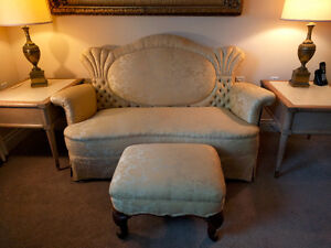 Antique wire-frame settee circa 1800s and foot stool