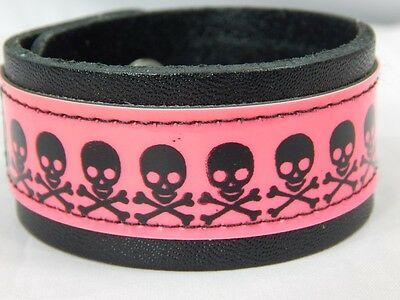 Nos FUNK PLUS Hot Pink Patent Jolly Roger Skull Crossbones Pirate Bracelet Cuff