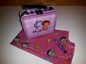Dora the explorer set, lunchbox,scarf & key ring flashlight