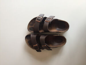 Brown 2 strap Birkenstock's size 36 with rose gold buckles