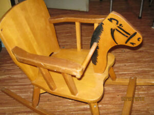 Antique wood horse rocking chair.