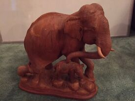 Solid wooden elephant