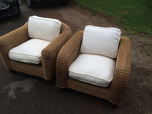 Wicker Chairs with Cream Colored Cushions