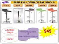 BRAND NEW- BAR STOOLS- acrylic, plastic, leather, Many colors