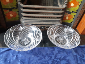 Two Large Matching Crystal Display Bowls