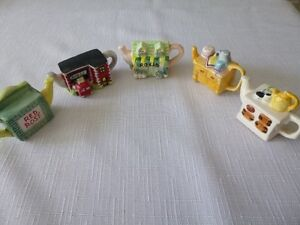 Red Rose tea pot collectibile figurines, $4 each or $20 for all