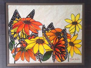 Tableau peinture toile les papillons  tournesols de Diane Allen