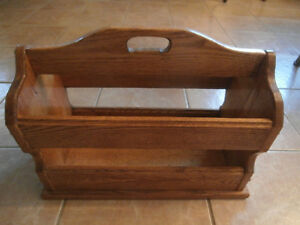 REDUCED!!!!!!!!!!!! Amish Made Solid Oak Magazine Rack Windsor Region Ontario image 1
