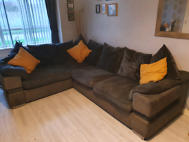 Large Dfs grey corner sofa and cuddle chair