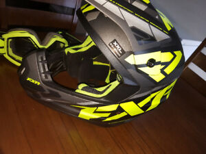 FXR helmet with goggles