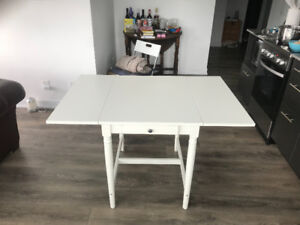 Dining table white (IKEA  - INGATORP) drop-leaves  for 2-4 seats
