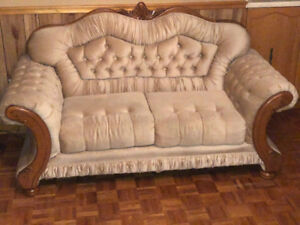 Hand Crafted Wood Antique Couches - 3 Piece Set