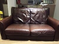 Beautiful two seater leather sofa chocolate brown for sale ASAP £75 ono