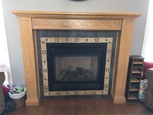 Maple wood fireplace mantel