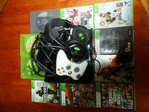 XBOX-360, TURTLE BEACH HEADSET, CONTROLLER, AND GAMES
