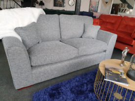 NEW Rio Grey Fabric 3 SeaterStandard Back Sofa DELIVERY AVAILABLE