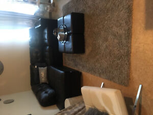 Black leather couches 4 cubes to make an ottoman best offer