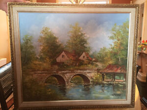 Ontario Farm House and Bridge Oil Painting by Walter W. Pranke
