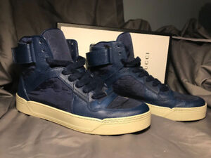 Men's Gucci Hi-Top Sneaker Blue Leather and Canvas size 12