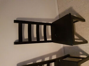 Set of 4 black wooden chairs