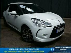 DS3 STYLE NAV S PURETECH 1.2 PETROL - 3 DR HATCHBACK - ONE OWNER - 2016