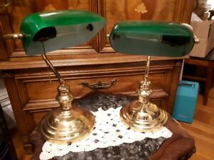 Vintage brass bankers/library lamps with green shade $60 each
