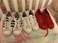 Adidas trainers 3 pairs superstar
