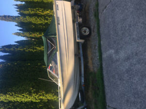 1981 k&c thermoglass 16ft boat with highliner trailer