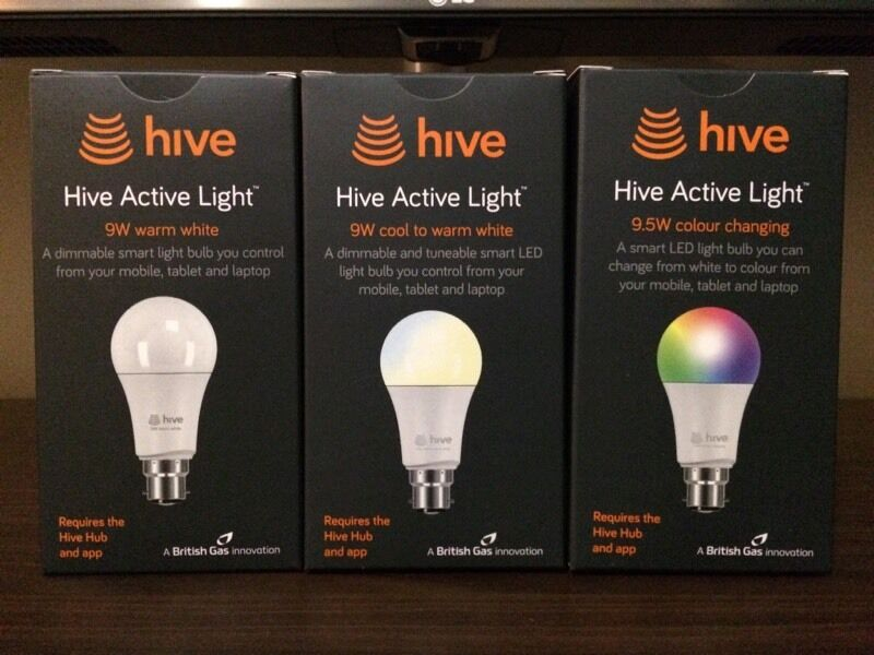 three hive smart lights colour tuneable white and white. Black Bedroom Furniture Sets. Home Design Ideas