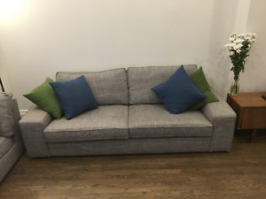 Cozy grey sofa! Perfect for families and entertaining!