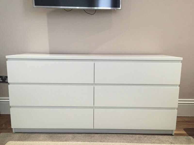 Ikea Malm Chest  Drawers White Used  Months