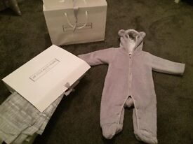 The Little White Company Grey fur teddy snow suit 3-6 months