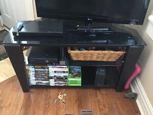 Glass top tv stand with glass shelving