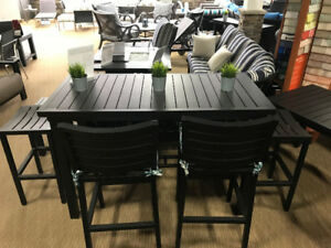 CLEARANCE!!!! Patio Furniture Rectangle Bar Set with Bar Chairs