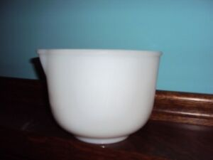 Antique milk glass Sunbeam stamped batter bowl with pour spout.