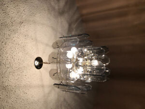 Dining room glass chandelier and two hall lights