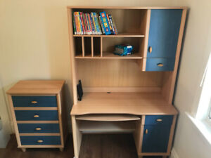 Dresser and wood desk with removable hutch for kid's room