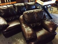 As new chestnut brown leather 3 and 1 sofa set