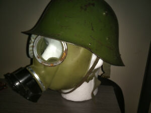 WW2 German made helmet and gas mask.