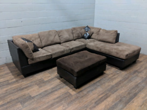 Microfiber 2-tone sectional sofa and ottoman. FREE DELIVERY