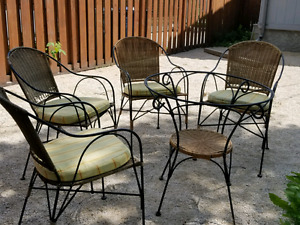 Wicker rod iron table chairs