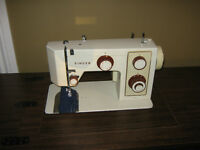 SINGER SEWING MACHINE W/ 3 DR. CABINET AND 2 DR. STORAGE BENCH