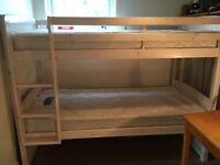 White Pine Bunk Beds and 1 Single Silent Night Miracoil rarely used mattress