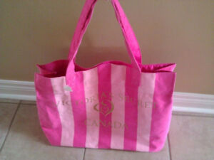 Women's Victoria Secret pink striped reversible beach bag tote