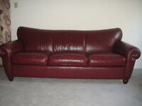 Classic Burgundy All Leather Sofa Set, 95% New, Can Deliver