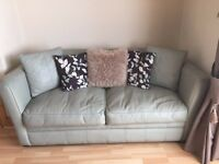 Green leather 3 seater sofa bed £120