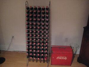 Vintage Soda Pop Rack & Bottles