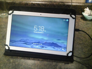 """Android tablet 10"""", leather case and charger"""