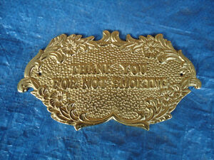 "SOLID BRASS ""THANK YOU FOR NOT SMOKING"" WALL SIGN 8.5"" X 4.5"""